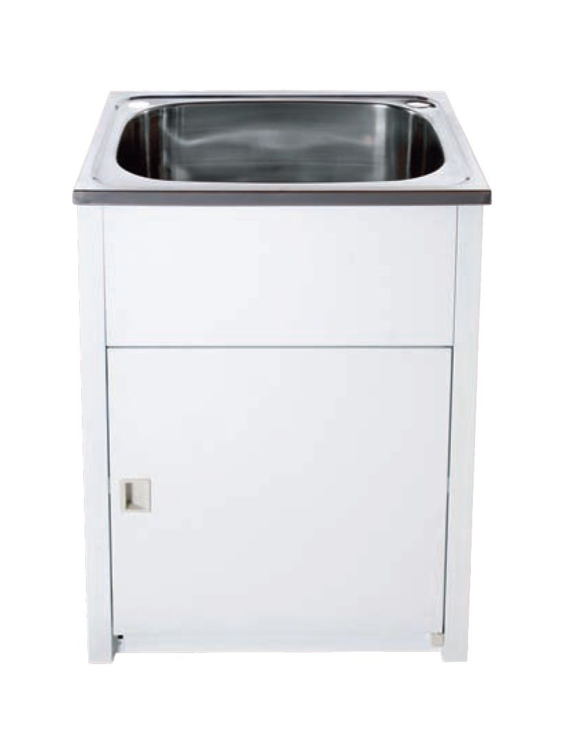 Metal Laundry Tub : 45LT Standard White Metal Laundry Cabinet & Stainless Steel Tub
