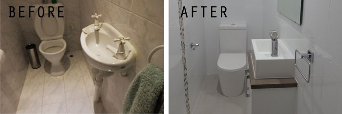 before after powder room