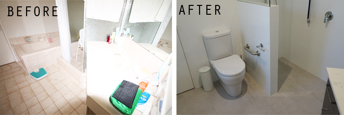 before and after- bathroom